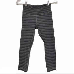 Lululemon gray striped cropped leggings